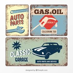 Retro garage poster Free Vector