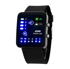 SKmei Sense Binary Digital LED Waterproof Unisex Mens Womens Sports Wrist WatchesBlack *** You can get more details by clicking on the image.