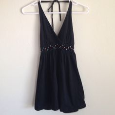 Express Halter Top Super cute express black halter that has little stones all over under the bust. Washed this and never worn . Great condition!!!  Express Tops