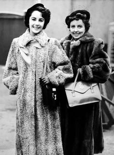 Elizabeth Taylor and her mother in England, 1948.