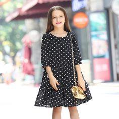 $18.09 (Buy here: https://alitems.com/g/1e8d114494ebda23ff8b16525dc3e8/?i=5&ulp=https%3A%2F%2Fwww.aliexpress.com%2Fitem%2FChiffon-White-Dots-Black-Dresses-Girls-Kids-10-Years-Ropa-Ninas-2016-De-Verano-Roupas-De%2F32721967363.html ) Chiffon White Dots Black Dresses Girls Kids 10 Years Ropa Ninas 2016 De Verano Roupas De Menina Sweet Dress for Girl Kids for just $18.09
