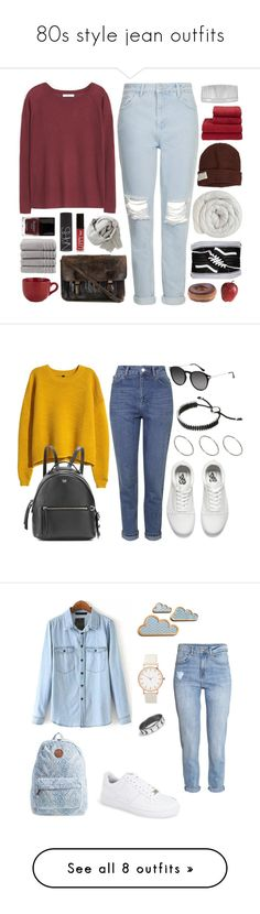 """""""80s style jean outfits"""" by minkimina on Polyvore featuring MANGO, Topshop, Krochet Kids, Butter London, Christy, John Lewis, Vans, Pier 1 Imports, Priestley's Vintage and NARS Cosmetics"""