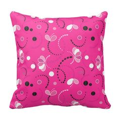 Pink, Black and White Abstract Pattern Pillow Throw Pillows by DesignsbyDonnaSiggy