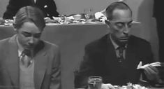 Buster Keaton at MGM's 25th Anniversary luncheon   Sometimes I wonder if he did this on purpose, or if he really didn't like what he was eating.