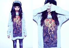 Moonscythe Long Sleeve Tshirt, Polardeers Asphalt Trapper Hat, Weird & Wicked Skeleton Legging