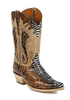 Black Jack Colored Python Cowboy Boots with Collar nice!