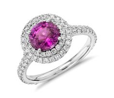 Pink Sapphire Pavé Diamond Double Halo Ring in 18k White Gold   #Jewelry #Style