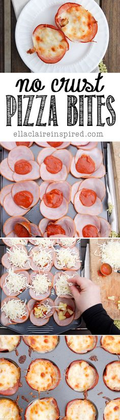 "Carb free Snack Foods NO-CRUST PIZZA BITES: GLUTEN FREE, LOW CARB ""Thicker cut Canadian bacon Shredded Mozzarella cheese Pizza sauce (or spaghetti sauce) Pizza toppings of choice"""