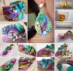 shibori bracelet cuffs to make Ribbon Jewelry, Ribbon Art, Soutache Jewelry, Jewelry Crafts, Beaded Jewelry, Jewellery, Shibori, Textile Jewelry, Fabric Jewelry