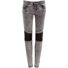 Pull & Bear Skinny Leg Jeans With Contrasting Quilted Knees (€25) ❤ liked on Polyvore featuring jeans, pants, bottoms, skinny jeans, pantalones, grey, skinny leg jeans, grey jeans, gray jeans and denim skinny jeans