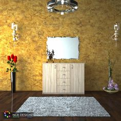 """Interior design for the """"Maxi Chest"""" comforter by placing it in an interior space with decorative objects and colors. Bedroom Furniture, Home Furniture, Decorative Objects, Comforters, Interior Design, Space, Modern, Home Decor, Interiors"""