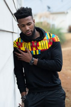 This kente hoodie sweatshirt is the cool outerwear for the Fall, Winter and Spring seasons.Description:Pullover HeadNo collarHooded front kangaroo pocketLong sleeveKente fabric on the shoulders (front an. Latest African Fashion Dresses, African Inspired Fashion, African Print Fashion, Africa Fashion, African Fashion For Men, Ankara Fashion, African Prints, African Fabric, African Women