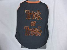 Halloween Dog Shirt Trick Or Treat In Rhinestones Black & Orange Costume Med…