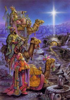 Three wise men visit Baby Jesus in the manger. Christmas Scenes, Christmas Nativity, Christmas Past, Christmas Pictures, Christmas Holidays, Christmas Decorations, Star Of Bethlehem, Three Wise Men, Biblical Art