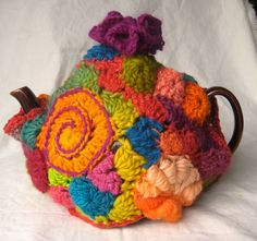 Freeform Crochet tea cozy Carnival by 2SistersStringworks