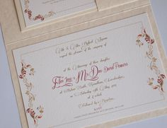 Medieval Wedding Invitation.  These invitations were designed for a Medieval themed wedding in Italy. The A5 invitations were printed with an overall damask design on the cover, inside we used a medieval scroll design in reds and gold - reply is card held in place by the bride and grooms personal crest. The crest was also printed onto the back of the postal envelope. The ribbon and wax seal was added by the bride and groom after they had added their guest names inside the Invitations.