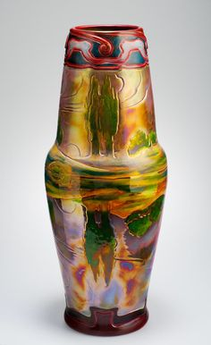Zsolnay Eosin Landscape Vase 1904