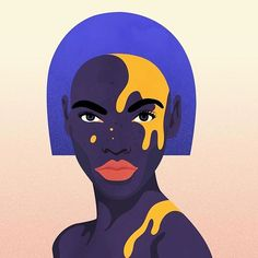 Blue hair and yellow dots. Face Illustration, Portrait Illustration, Digital Illustration, Illustrations, Art Sketches, Art Drawings, Posca Art, Black Girl Art, Minimalist Art