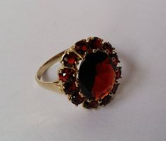 53ebf1c3e Vintage 8K Gold and Bohemian Garnet Oval Cluster Ring Ring Miss Green,  Cluster Ring,