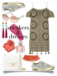 """""""Sneakers and Dresses"""" by www-mbalenhlemm ❤ liked on Polyvore featuring River Island, Golden Goose, Roberto Cavalli, Chanel, Kenneth Jay Lane, Bobbi Brown Cosmetics and Guerlain"""