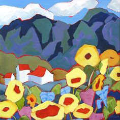 stylized landscape painting with sunflowers by Carolee Clark
