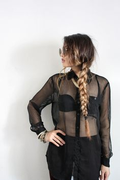 still contemplating ombre, this looks awesome though Sheer Shirt, Sheer Blouse, Black Blouse, Look Fashion, Fashion Beauty, Fashion 101, Street Fashion, Braided Hairstyles, Cool Hairstyles