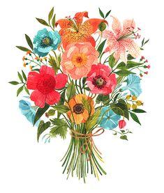 oana befort illustration, illustrated flowers, elegant flowers, bouquet illustration, flowers bouquet, lovely illustration, romanian artist, atelierul de print, cadou de arta, lovely gift, living room, kids illustration, decoration Bouquet Oana Befort
