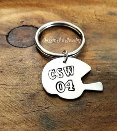 Personalized Football Helmet Keychain, Hand Stamped Jewelry, Personalized Gift For Her or Him, Sports Accessoires, Football Keepsake by JazzieJsJewelry on Etsy