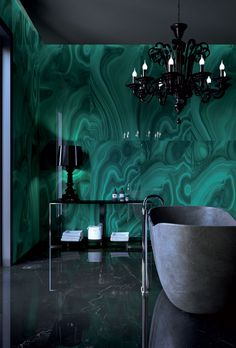 You would never know this wasn't real malachite!  This company has some unbelievable products. Semiprecious series from Fiandre. Images are ink-jet printed onto a slab of engineered clay and then fired; the final result is a large glazed porcelain tile that looks like a slab of polished stone, inculding