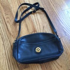 "Vintage navy leather bag H Paris vintage leather crossbody bag in deep navy. Inner and back zip pocket. Strap drop 21"". H Paris Bags Crossbody Bags"