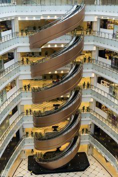 Spiral Escalator In Shanghai