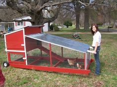 Chicken Coop - portable chicken coop on wheels | Why Choose A Mobile Chicken Coop? | Chicken Coop How to Building a chicken coop does not have to be tricky nor does it have to set you back a ton of scratch. Chicken Coop On Wheels, Walk In Chicken Coop, Mobile Chicken Coop, Chicken Coop Pallets, Portable Chicken Coop, Best Chicken Coop, Chicken Tractors, Backyard Chicken Coops, Building A Chicken Coop
