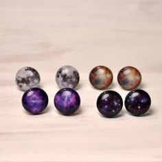 Full Moon Stud Earrings  Hypoallergenic Surgical by DittyDrops, $15.00....I can't decide which ones I want!!!