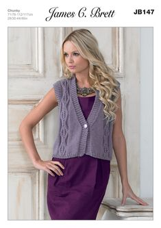 Ladies' Waistcoat in James C. Brett Chunky with Merino - JB147