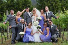 Bride & Groom, Wedding, Grey Suit, White Tie, Groomsmen, Bridal party.