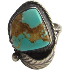 Vintage Southwestern Tribal Ring Size 4.5 Sterling Silver Wonderful Turquoise Stone