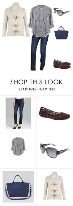 """""""Draft clearing"""" by bloomfly ❤ liked on Polyvore featuring ファッション, NYDJ, Grendha, Longchamp, AllSaints, outfit と autumn"""