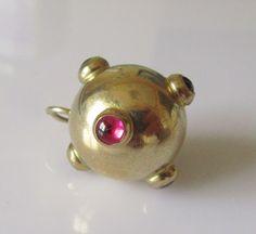 Large 9ct Gold Sputnik or Disco Ball Gem Set Charm or Pendant by TrueVintageCharms on Etsy
