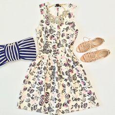 Outfit layout - H&M floral dress + Nine West Sandals