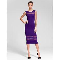 Cocktail Party Dress - Regency Sheath/Column Jewel Knee-length – USD $ 29.99