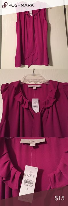 LOFT top (NWT) Sleeveless pink ruffle top blouse. BRAND NEW with tags. LOFT Tops Blouses