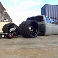 Too low to go! Bagged and bodied Chevy square body 4 door dually