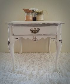 Shabby cottage white end table distressed Queen Anne french-cottage antique vintage. Hand painted and distressed by Julie Roberts. Check out www.elevateddecorco.com for more details and other one-of-a-kind home decor!