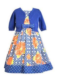 Bonnie Jean  2-Piece Floral Dress and Cardigan Set Toddler Girls