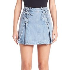 Free People Denim Lace-Up Mini Skirt