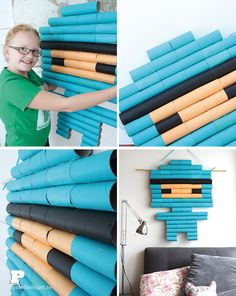There are so many talented crafter online and we find fun and inventive crafts we want to try on the net all the time. Today we make the artist Beru Betto's fantastic Toilet Roll Pixel Boy and are amazed at the results. Start collecting toilet rolls! You need 79 (!)toilet rolls, craft paint, paintbrush, glue(...)