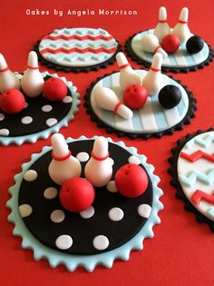 Bowling set of cupcake toppers by CakesbyAngela on Etsy