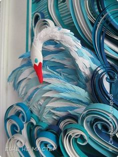 Лебединое озеро. | Страна Мастеров Quilling Comb, Quilling Craft, Paper Quilling, Quilling Ideas, Copic, Paper Dolls, Handicraft, Paper Art, Rooster