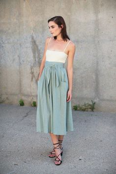 Mara Hoffman Midi Skirt in Sage | BONA DRAG