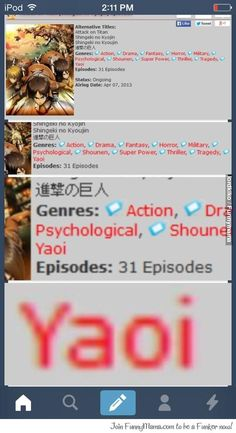 YAOI? I mean it is suggested that Reiner is gay in the manga, but then why isn't Yuri added to the list for Ymir? It just doesn't make sense.